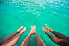Bezahlt und das Meer auf Boot Stockfoto