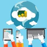 Bezahlung-pro-Klick- flaches Konzept für Netz-Marketing Stockfotografie