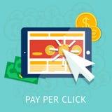 Bezahlung-pro-Klick- Illustration mit Geschäftstablette Lizenzfreie Stockbilder