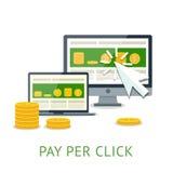 Bezahlung-pro-Klick- Illustration mit PC und Notizbuch Stockbilder