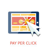Bezahlung-pro-Klick- Illustration mit Tablette Lizenzfreies Stockfoto
