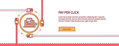 Bezahlung-pro-Klick- Konzept- des Entwurfesart lizenzfreie abbildung
