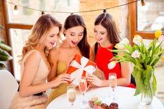 Bezaubern, hübsches, attraktives Sitzen mit ihren Freunden in Café, c Stockbilder