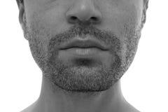 Bezaubern und halbes Gesicht des gutaussehenden Mannes Stockfotografie