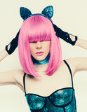 Bezaubernde Artmode sexy Dame Pussycat lizenzfreies stockbild