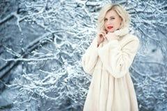 Bezaubernde blonde Dame mit perfektem bilden tragende luxuriöse weiße Schwingenpelzmantelstellung unter schneebedeckten Bäumen lizenzfreie stockfotografie