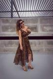 Bezaubernde Frau im Maxi Kleid der Tierdruckausstattung Stockfoto