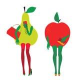 Bezaubernde Früchte Apple und Birne im Bild von Fashionistas Stockfoto