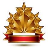 Bezaubernde Vektorschablone mit fünfeckigen goldenen Sternen vektor abbildung