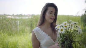 Bezauberndes junges Mädchen des Porträts mit dem brunette Haar, das eine lange weiße Sommermode-Kleiderstellung auf dem Feld träg stock video footage