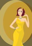 Bezauberndes Mädchen im gelben Kleid Stockfotos