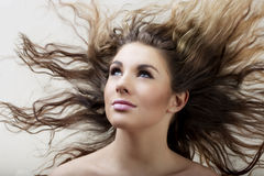 Bezauberndes Mädchen mit dem langen Haar Stockbilder