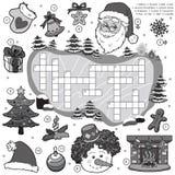 Bezbarwny crossword, edukaci gra dla dzieci o bożych narodzeniach royalty ilustracja