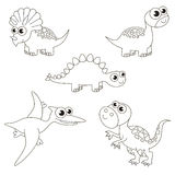 Bezbarwny olbrzymi dinosaurus Dino set duża strona barwić, prosta edukaci gra dla dzieciaków Zdjęcia Royalty Free