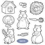 Bezbarwny set śliczni zwierze domowy i przedmioty (chomiki) ilustracji