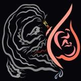 Bezbronny dziecko cierpi w żołądku ciężarna matka od jej dymienia, potwór od dymu ilustracja wektor