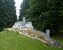 The BezdÄ›z castle - mini model. This model is situated in Mariánské Lázně in Bohemia.All the exhibited models in the Boheminium Park are exact replicas stock images