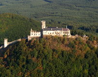 Bezdez castle - air photo. Bezdez castle ruin, Czech republic Royalty Free Stock Photography