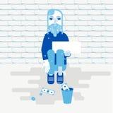 Bezdomna osoba błaga dla pieniądze ilustracja wektor