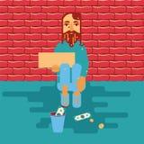 Bezdomna osoba błaga dla pieniądze royalty ilustracja
