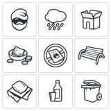 Bezdomne ikony ustawiać również zwrócić corel ilustracji wektora Obrazy Royalty Free