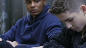 Bezdomni męscy przyjaciele czuje spęczenie, wspierają each inny w trudnych sytuacjach zdjęcie wideo