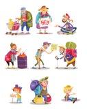 Bezdomny i żebracy zaludniamy wektorową kreskówki ilustrację kobieta, mężczyzna i dziecko błaga dla, pieniądze i jedzenia ilustracji