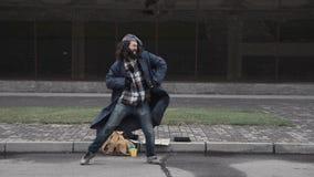 Bezdomny mężczyzna wygrywał najwyższą wygranę Zdjęcia Royalty Free