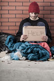 Bezdomny potrzebuje pomoc obraz royalty free