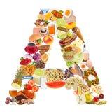 Bezeichnen Sie A bildete von der Nahrung mit Buchstaben Lizenzfreies Stockfoto