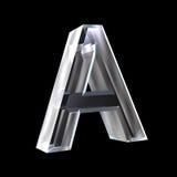 Bezeichnen Sie A im Glas 3D mit Buchstaben Lizenzfreie Stockbilder