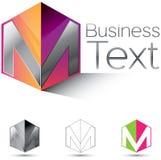 Bezeichnen Sie M in einem Kasten mit Buchstaben stock abbildung
