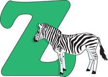 Bezeichnen Sie Z mit einem Zebra mit Buchstaben Stockbilder