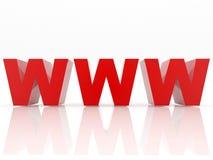 Bezeichnet WWW mit Buchstaben stockbilder