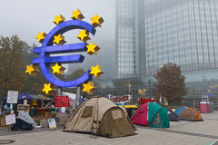 Bezet de Protesten van Frankfurt Royalty-vrije Stock Foto's