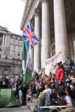 Bezet het protest van Londen bij de Koninklijke Uitwisseling Stock Foto's