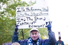 Bezet Wall Street 3 stomme economie royalty-vrije stock afbeelding