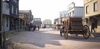 Bezette westelijke stad met diverse ondernemingen Stock Fotografie