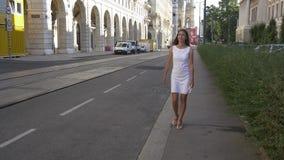 Bezienswaardigheden bezoekend in Europa, die op historische straat lopen stock footage