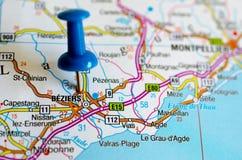 Beziers на карте стоковая фотография