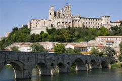 Beziers. Landscape, river and cathedral Stock Photography