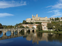 Beziers in autumn, France. Beziers old city and pont vieux (old bridge) on the river orb in autumn Stock Photos