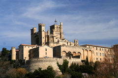 Beziers Castle. Beziers - medieval village built in a circular shape around a little hill with its castle looking down on it royalty free stock image
