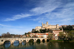 Beziers Castle in France. Beziers - medieval village built in a circular shape around a little hill with its castle looking down on it Stock Images