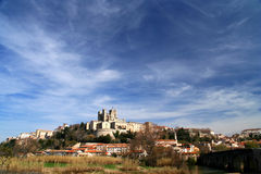 Beziers Cathedral. Beziers - medieval village with its castle looking down on it Royalty Free Stock Image