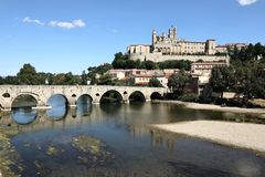 Beziers Cathedral France. Taken in Beziers, in southern France in the Languedoc region. Shows The Saint Nazaire Ancient Cathedral. The river L`orb runs along the Stock Images