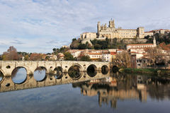 Beziers cathedral and old bridge Royalty Free Stock Photography