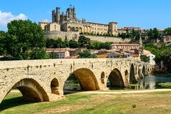 Beziers Cathedral Saint-Nazaire and Pont Vieux languedoc France Royalty Free Stock Photos