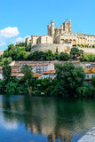 Beziers Cathedral view from Pont Vieux languedoc France Stock Images