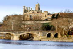 Beziers France. The church in Beziers (Herault, Languedoc-Roussillon, France)l and the bridge Royalty Free Stock Photo